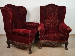 Pair of armchairs with ears